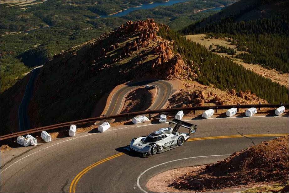 Volkswagen racing electric car broke the record at Pikes Peak Hill Climb