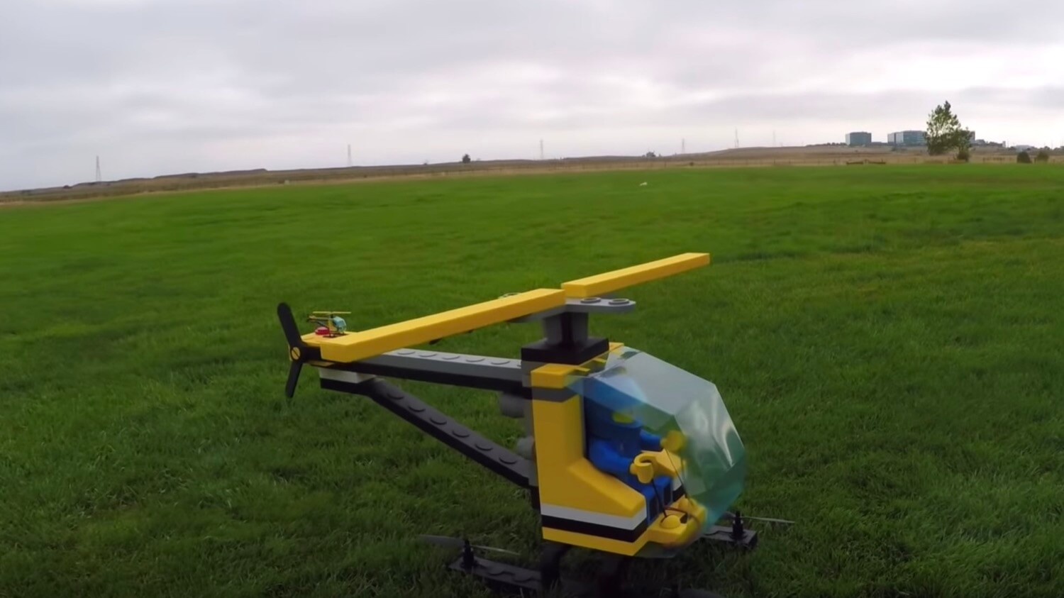 Amateur quadcopters have built a giant LEGO helicopter