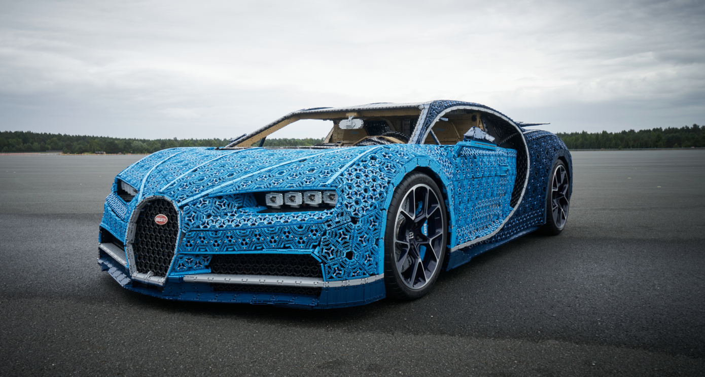LEGO Bugatti built from a million bricks. It is possible to ride!