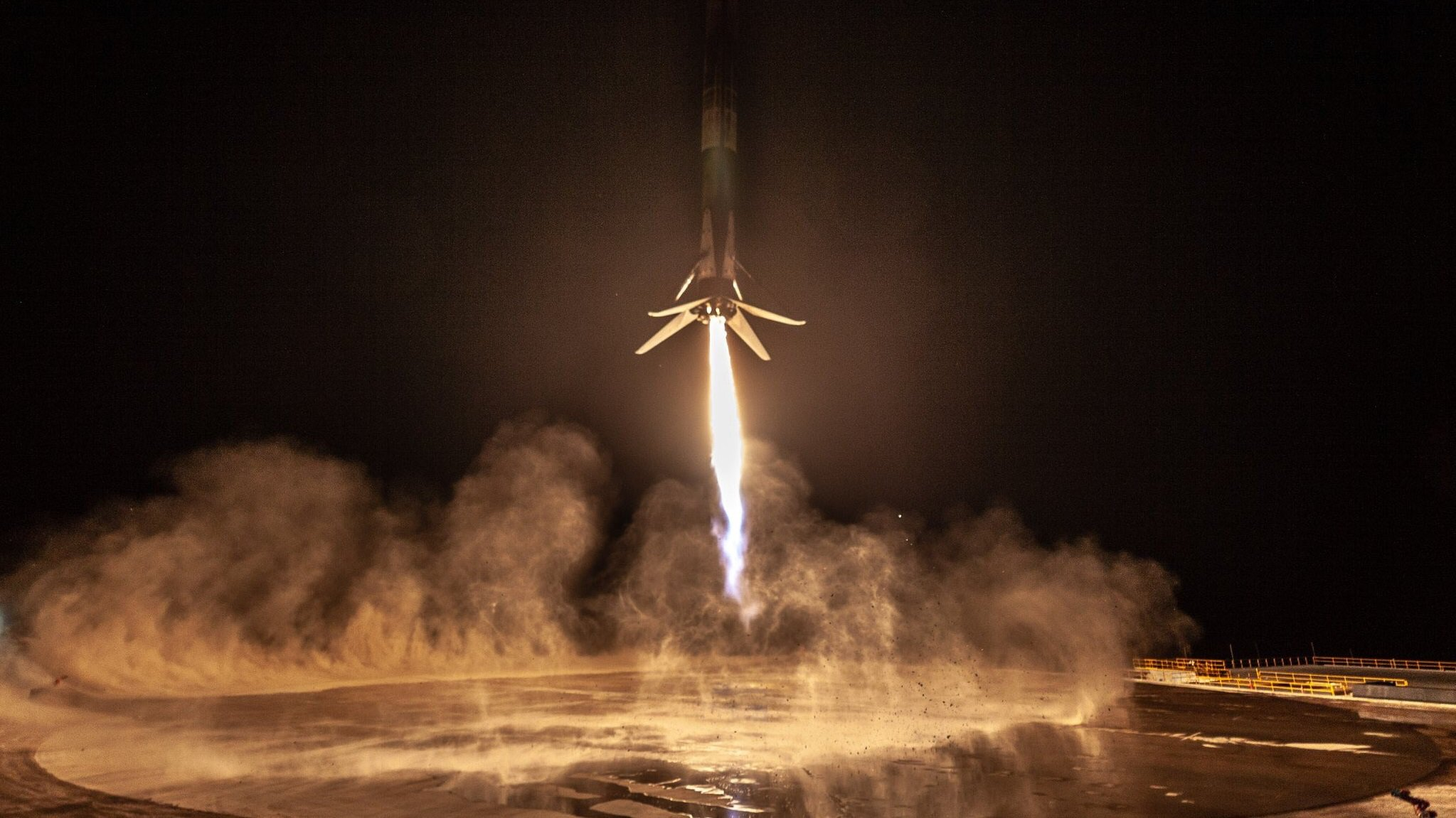 SpaceX first successful landing of a Falcon 9 rocket on the coast of California
