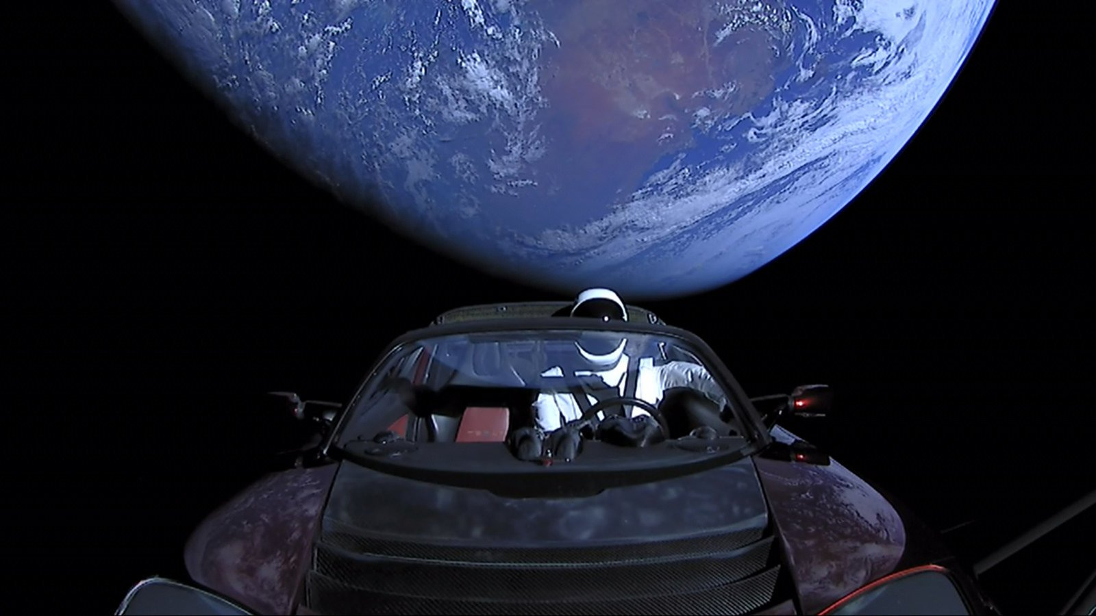 Tesla Roadster, sent into space, past Mars