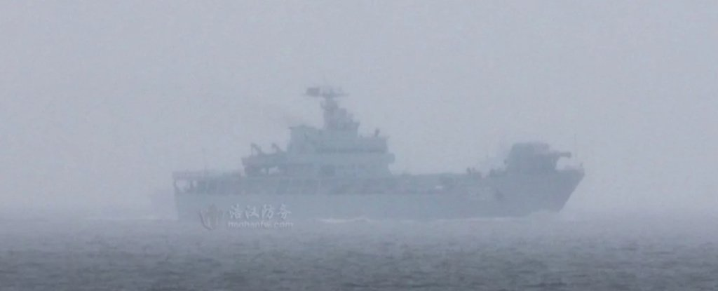 Chinese Navy ship equipped with a railgun, seen in the open sea