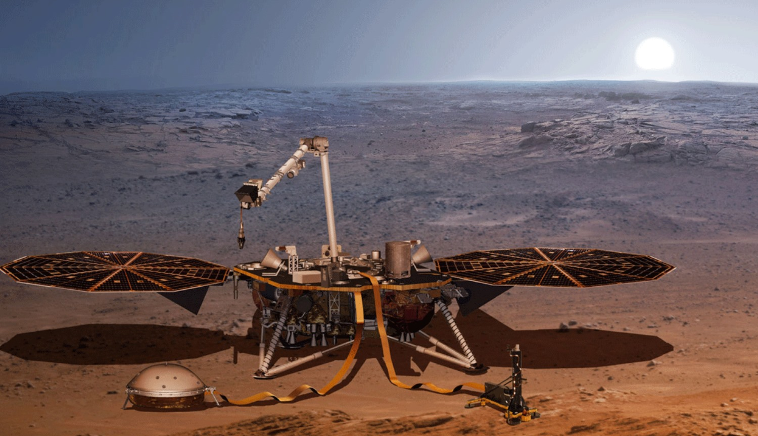 Seismometer Mars probe InSight received protection from wind and heat