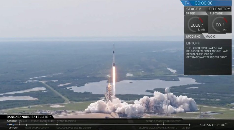 Booster Falcon 9 Block 5 successfully launched into orbit a communications satellite Bangladesh