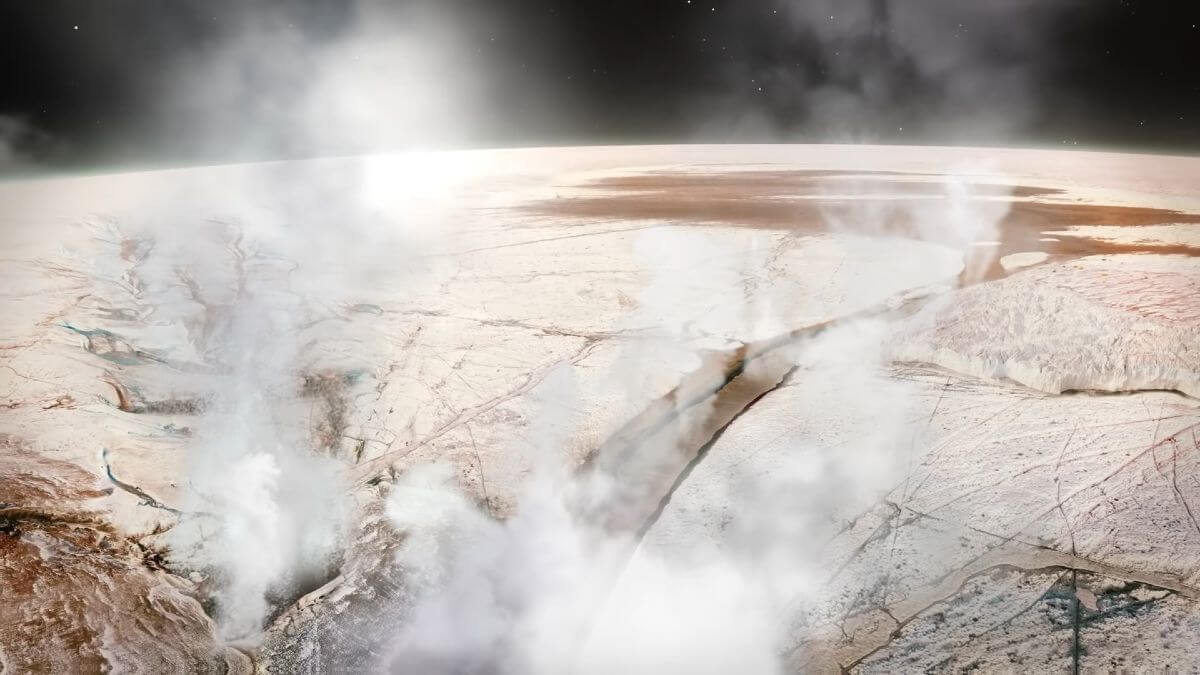 The first recorded observation of geological processes on Europa
